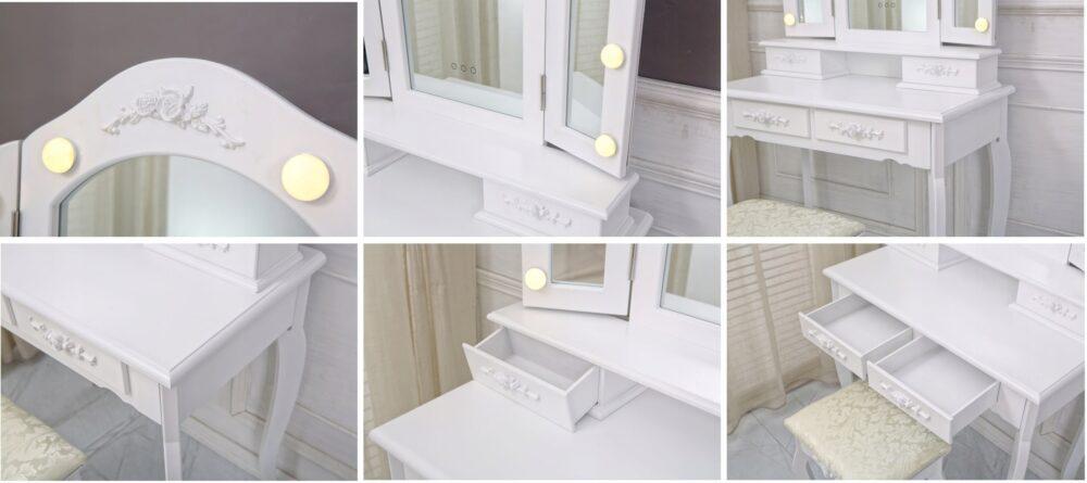 - TOALETKA-KOSMETYCZNA-Z-OSWIETLENIEM-LED-3-LUSTRA-Kod-produktu-TL14